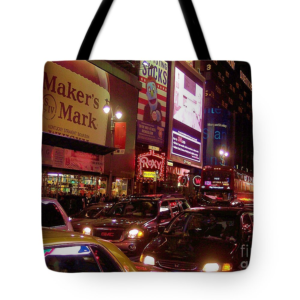 New York Tote Bag featuring the photograph Times Square Night by Debbi Granruth