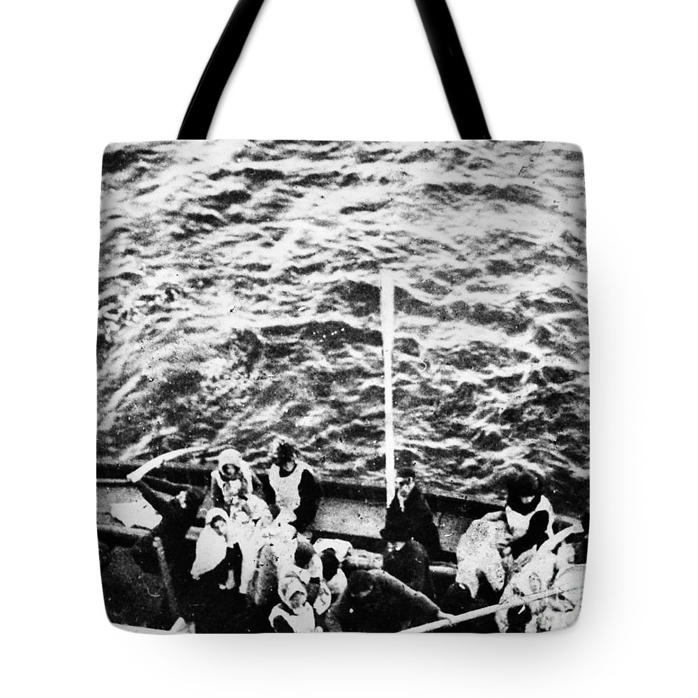 1912 Tote Bag featuring the photograph Titanic: Lifeboats, 1912 by Granger