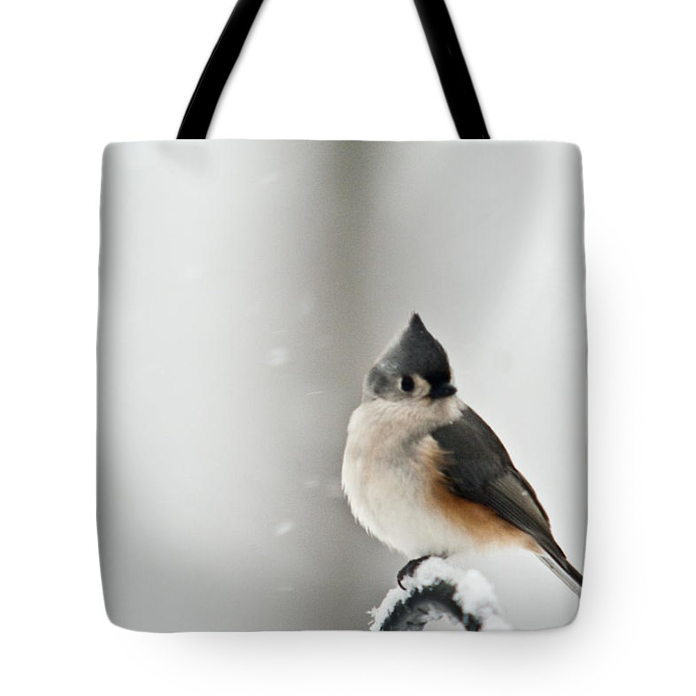 Tufted Tote Bag featuring the photograph Titmouse In The Snow by Douglas Barnett