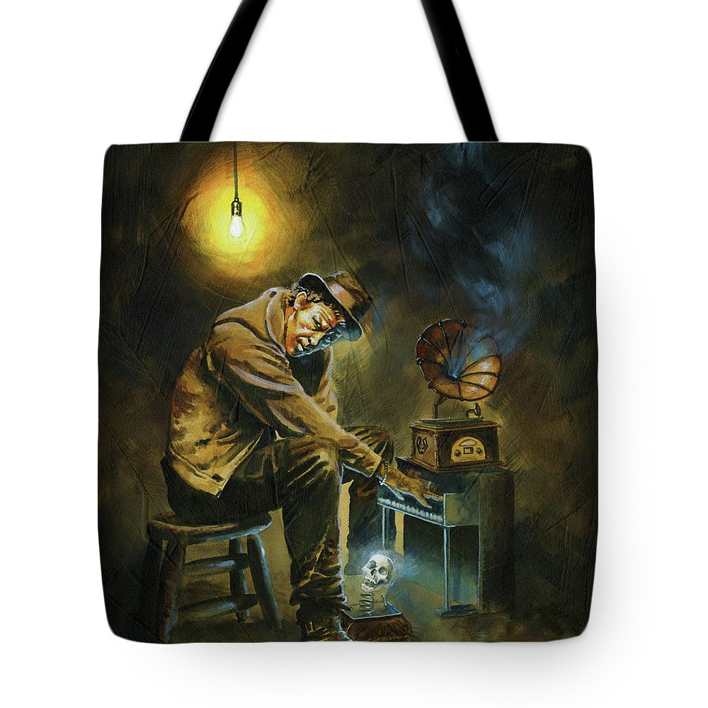 Tom Waits Tote Bag featuring the painting Tom Waits by Ken Meyer jr