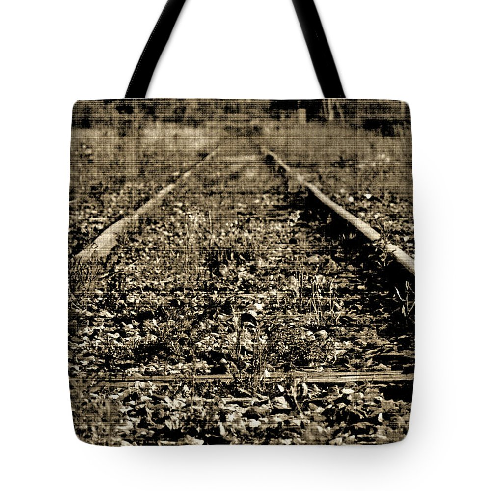 Train Tote Bag featuring the photograph Tracks To Where by Traci Cottingham
