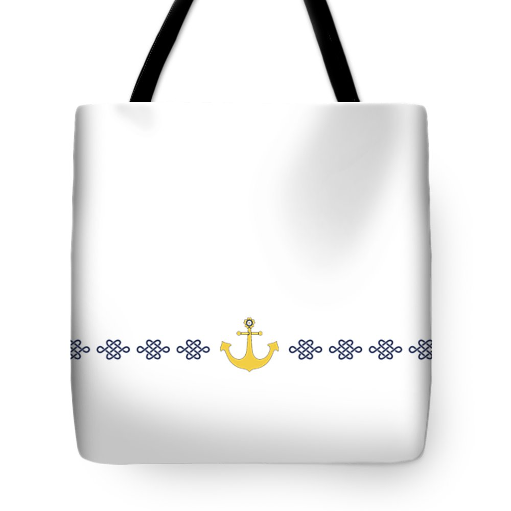 Japan Tote Bag featuring the digital art Treasure Knot With Yellow Anchor 2 by Helga Novelli