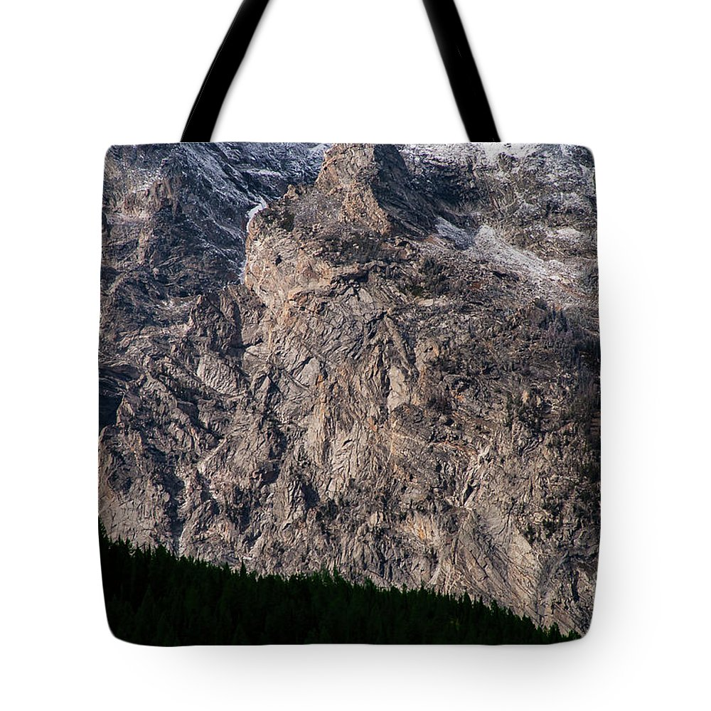 Grand Teton National Park Tote Bag featuring the photograph Teton Tree Line by Bob Phillips