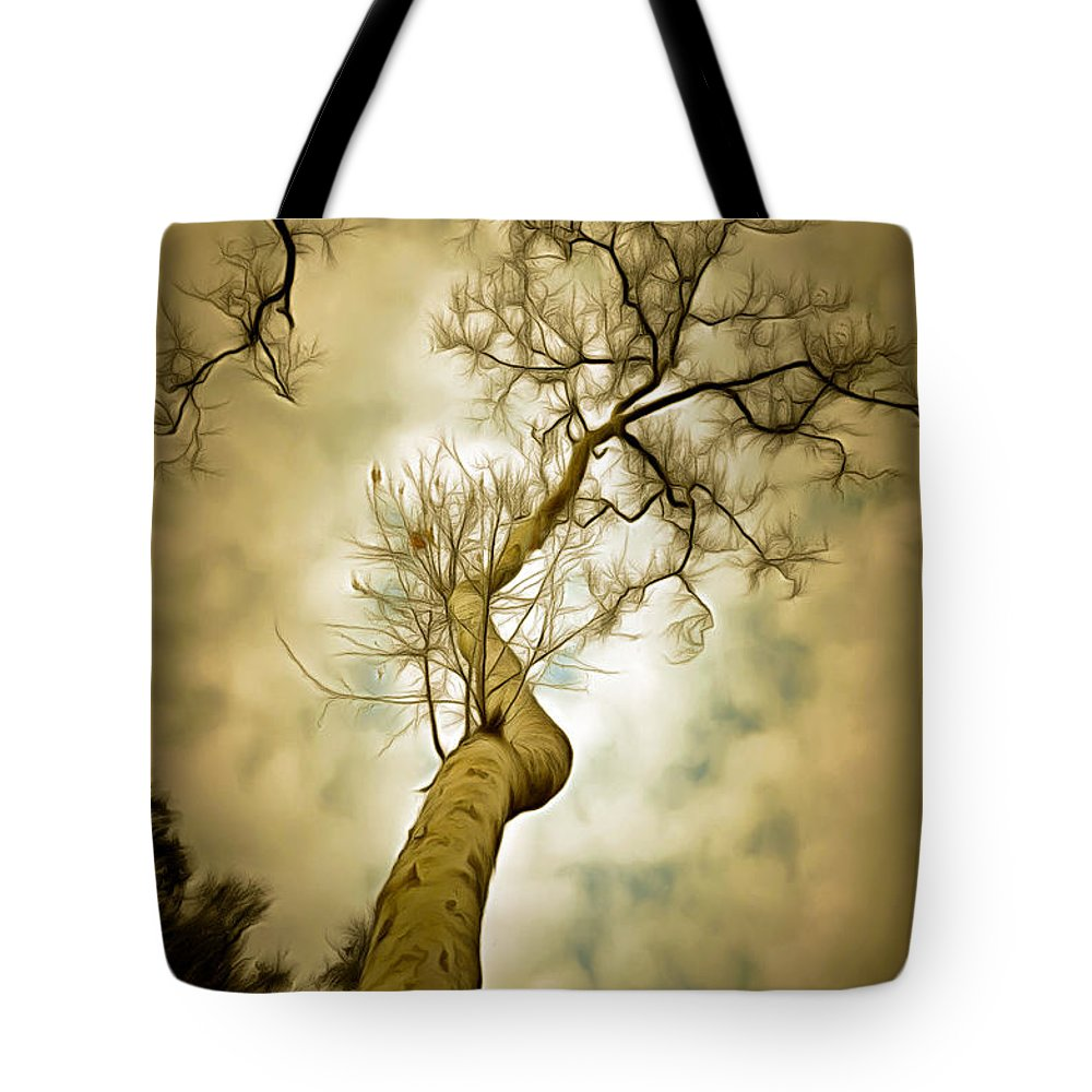 Tree Top In The Clouds Tote Bag featuring the photograph Tree Top In The Clouds by Barbara Snyder