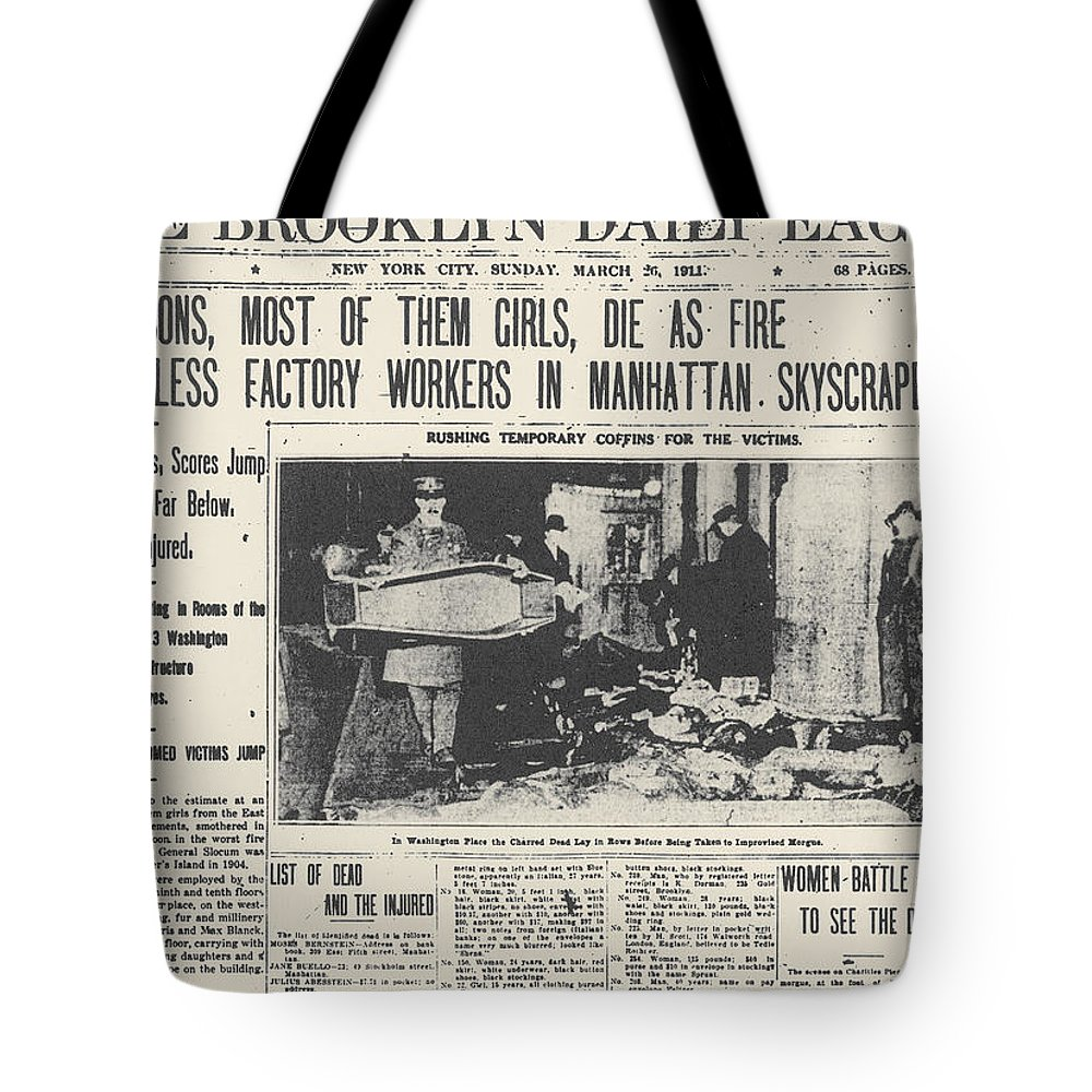 1911 Tote Bag featuring the photograph Triangle Factory Fire by Granger