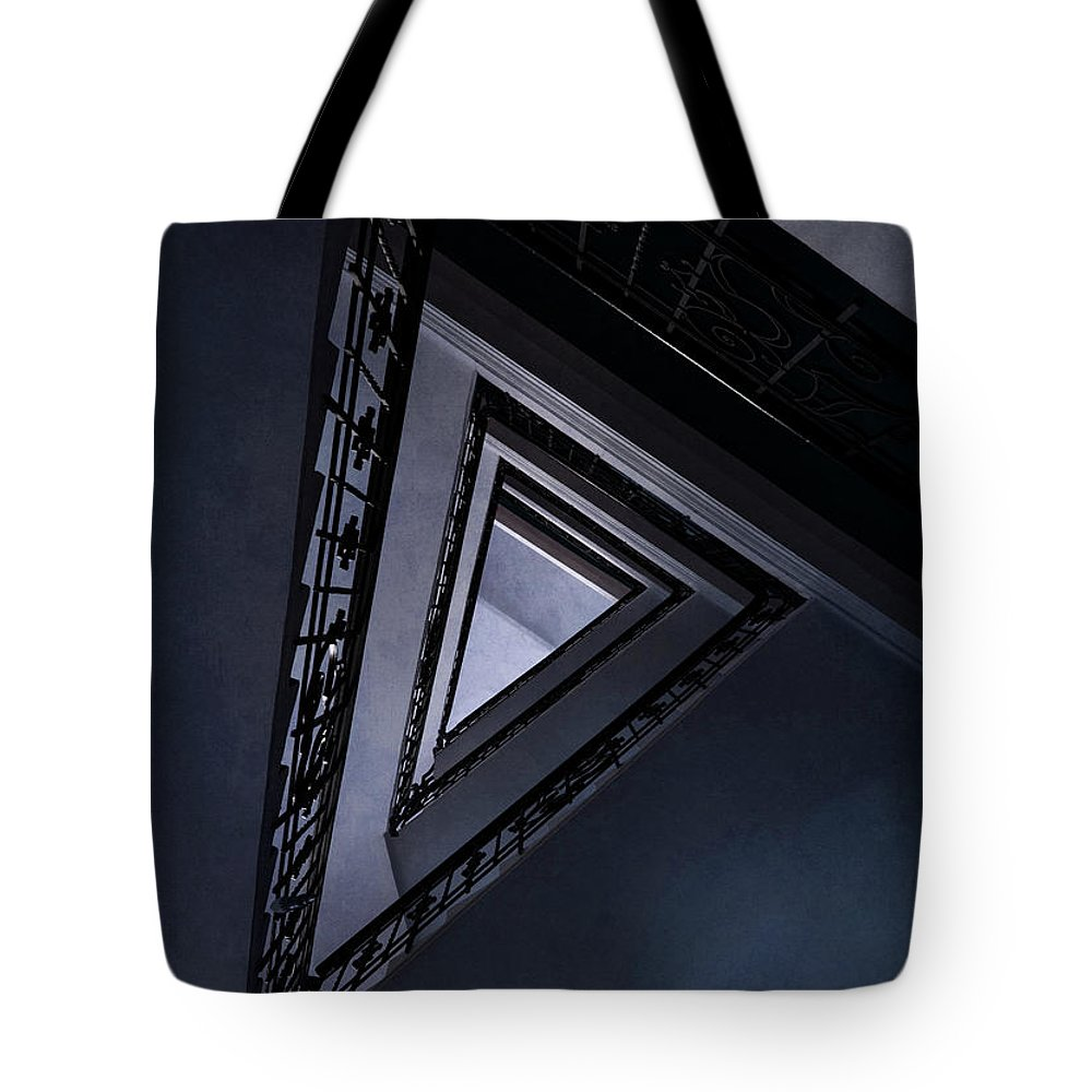 Architecture Tote Bag featuring the photograph Triangle Staircase by Jaroslaw Blaminsky