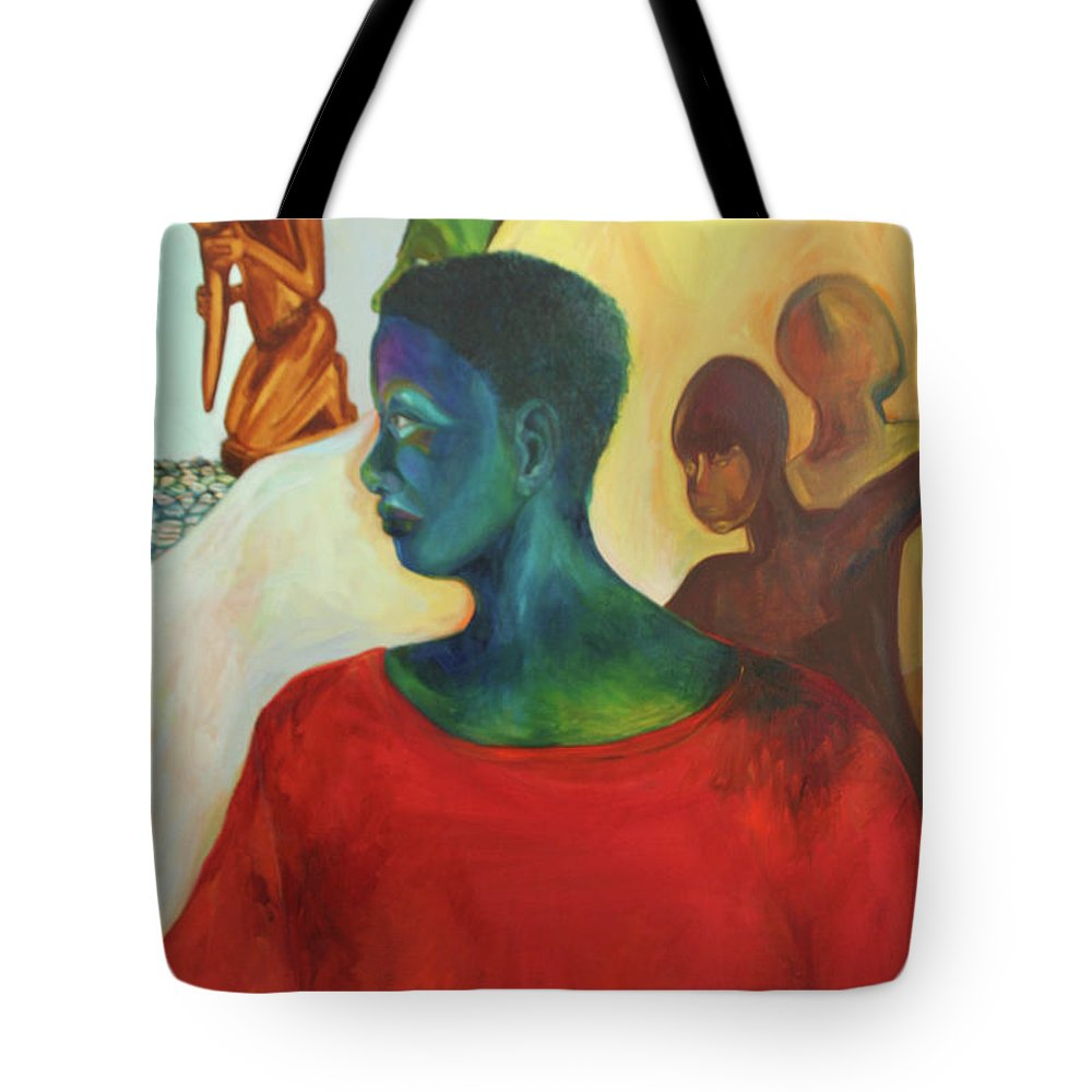 Oil Painting Tote Bag featuring the painting Trickster by Daun Soden-Greene
