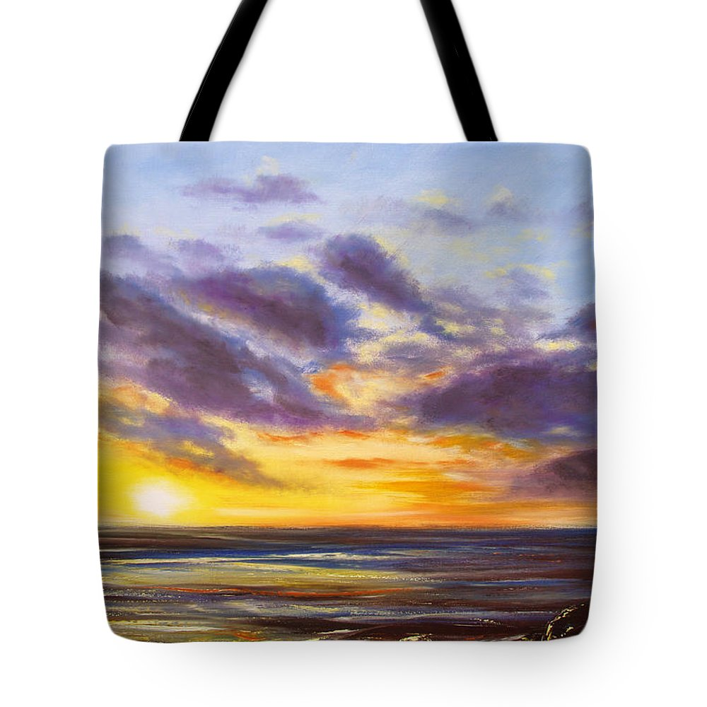 Tropical Tote Bag featuring the painting Tropical Sunset by Gina De Gorna