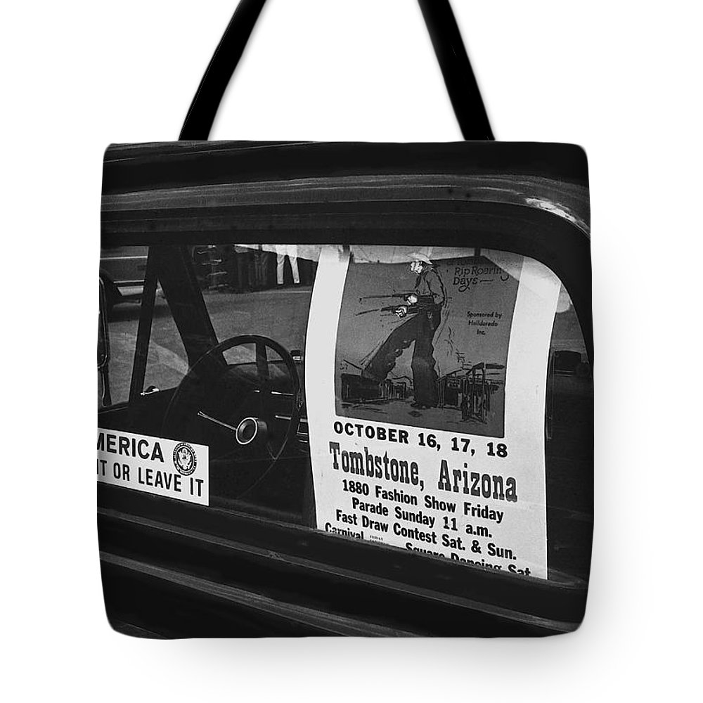 Truck With Right Wing Decal And Helldorado Days Poster Tombstone Arizona 1970 Tote Bag featuring the photograph Truck With Right Wing Decal And Helldorado Days Poster Tombstone Arizona 1970 by David Lee Guss