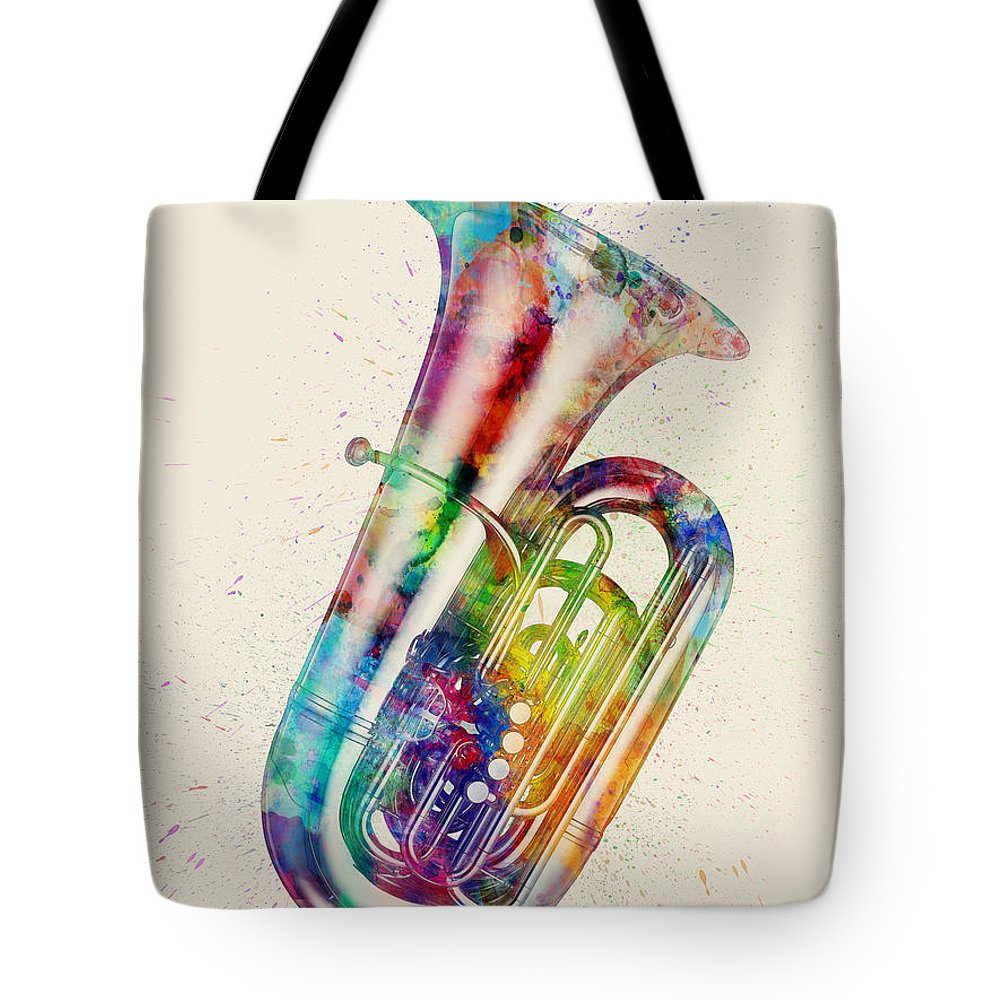 Tuba Tote Bag featuring the digital art Tuba Abstract Watercolor 1 by Michael Tompsett