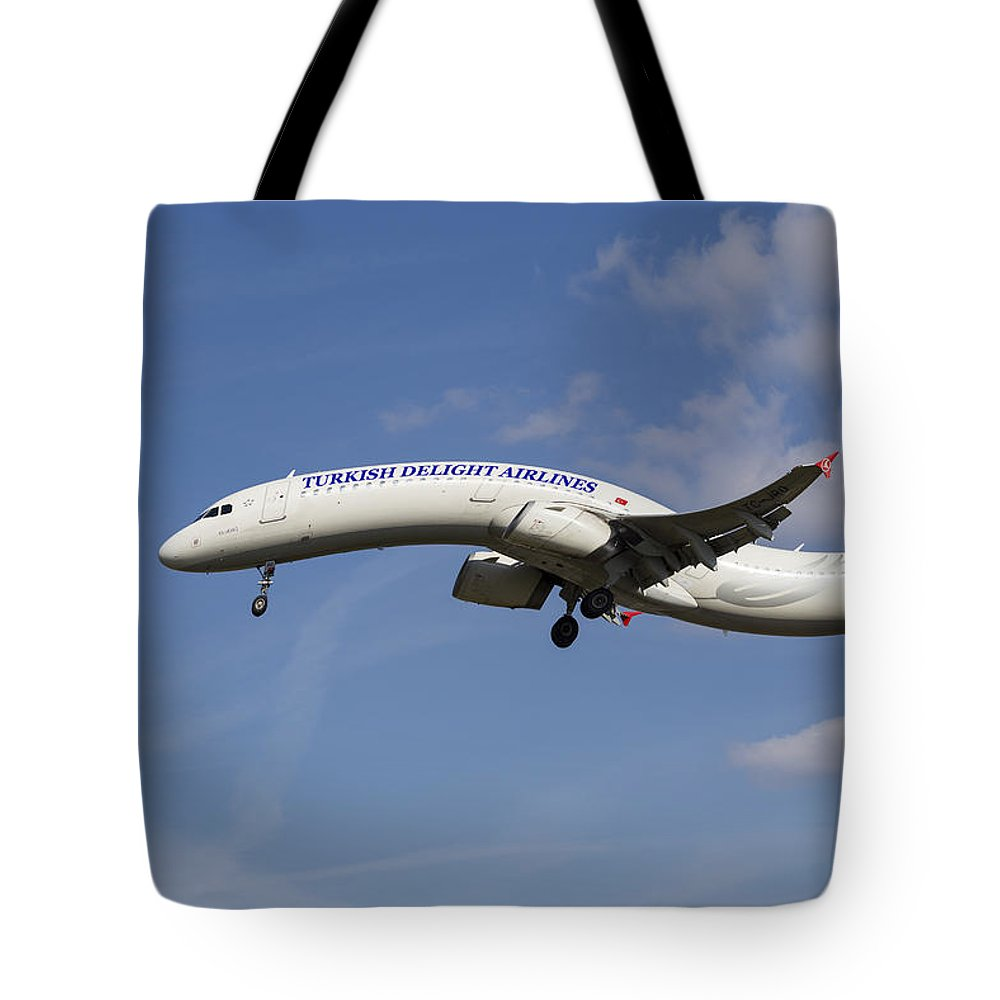 Turkish Delight Tote Bag featuring the photograph Turkish Delight Airlines Airbus A321 by David Pyatt