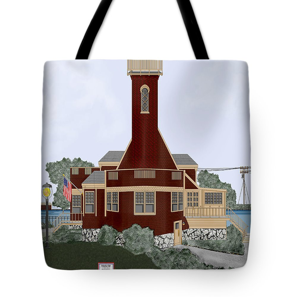Lighthouse Tote Bag featuring the painting Turtle Rock Lighthouse by Anne Norskog