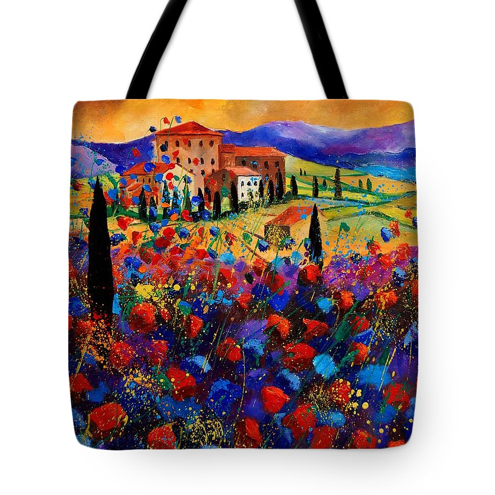 Flowers Tote Bag featuring the painting Tuscany Poppies by Pol Ledent