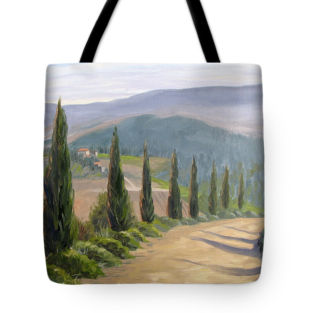 Landscape Tote Bag featuring the painting Tuscany Road by Jay Johnson