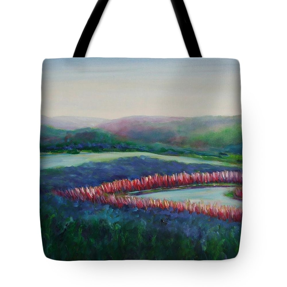Landscape Tote Bag featuring the painting Tweet Stream by Shannon Grissom