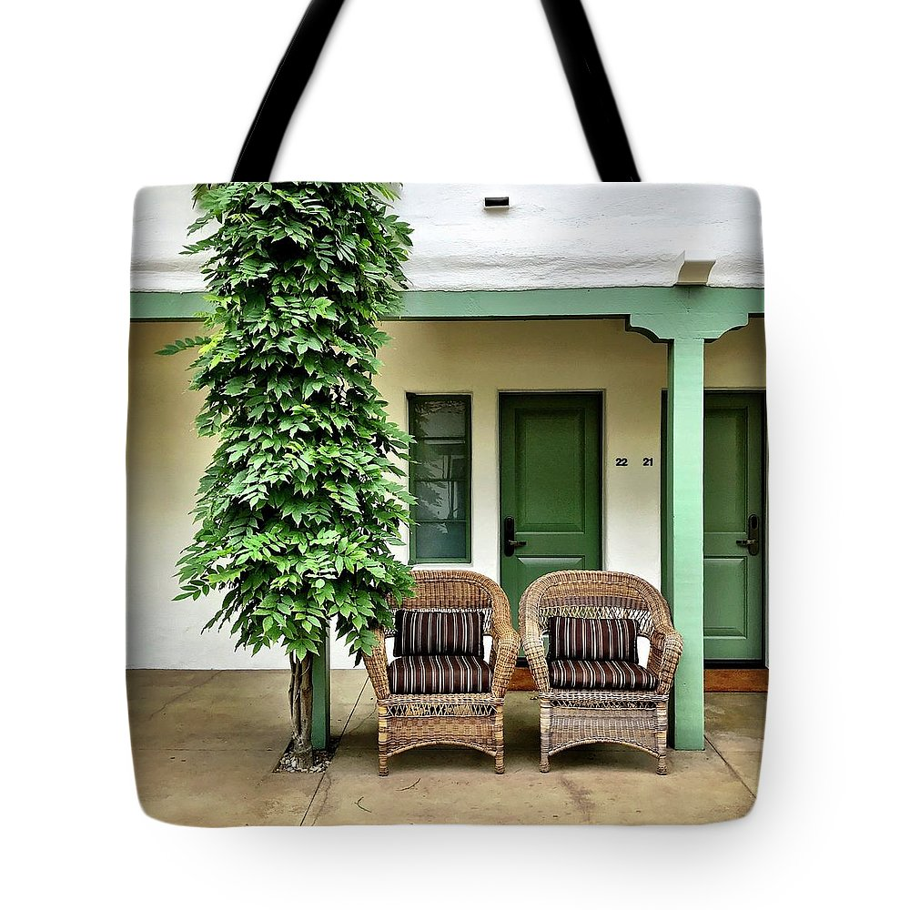 Tote Bag featuring the photograph Two Chairs by Julie Gebhardt
