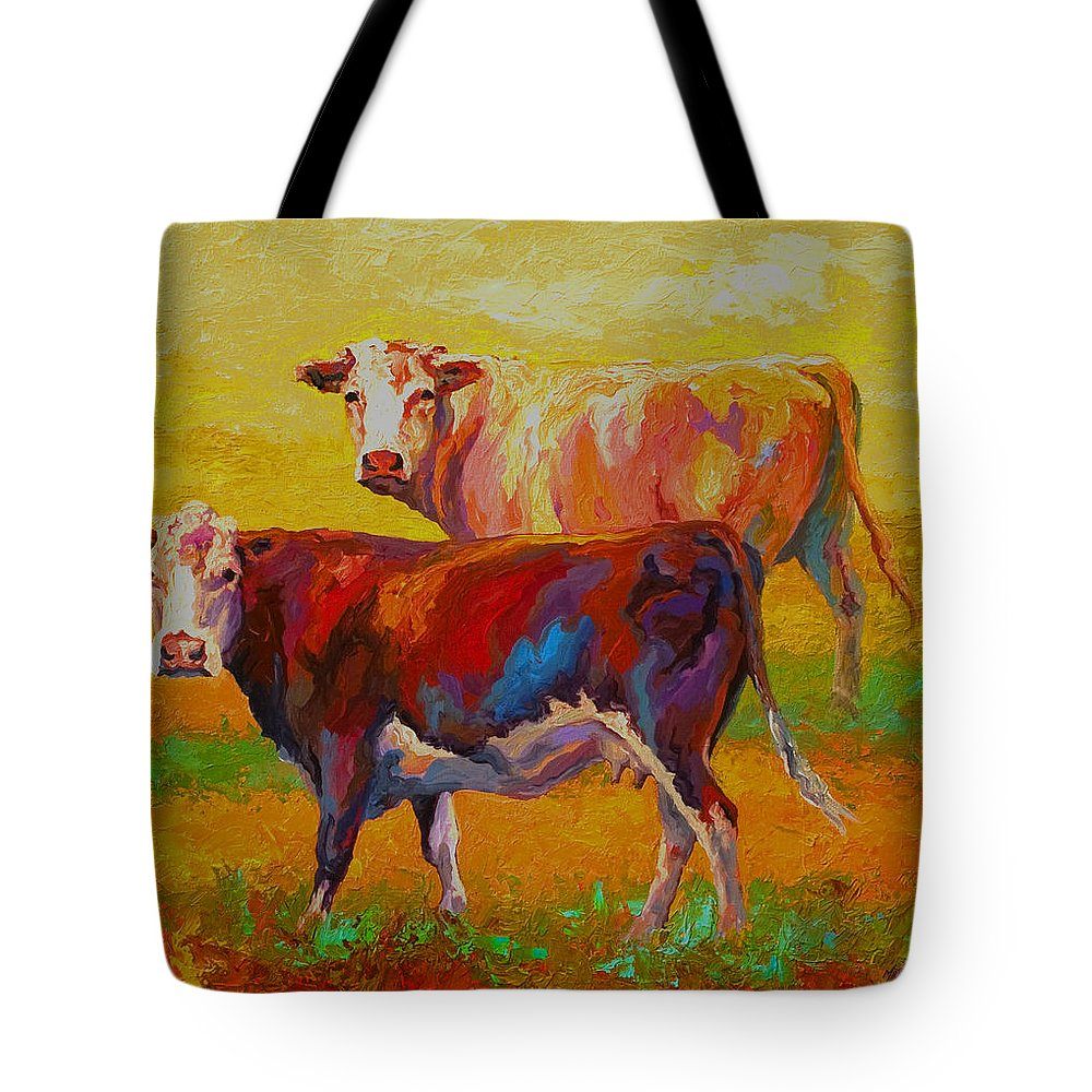 Cows Tote Bag featuring the painting Two Cows by Marion Rose
