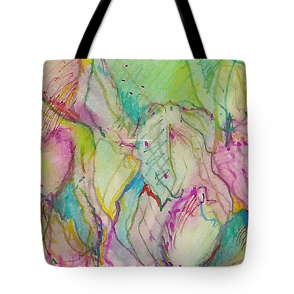 Abstract Tote Bag featuring the painting Two Lips by Jan Bennicoff