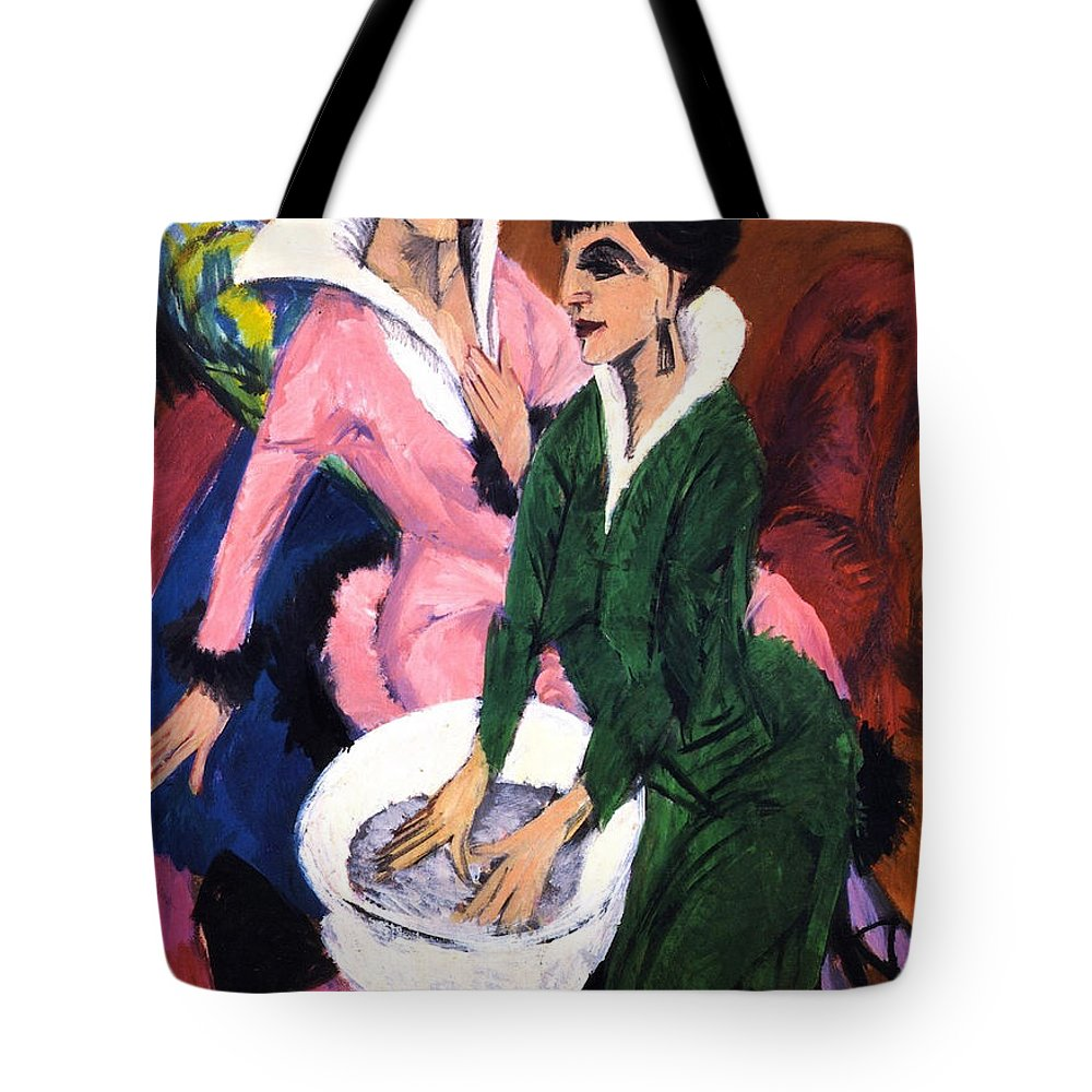 Die Brucke Tote Bag featuring the painting Two Women With A Washbasin by Ernst Ludwig Kirchner