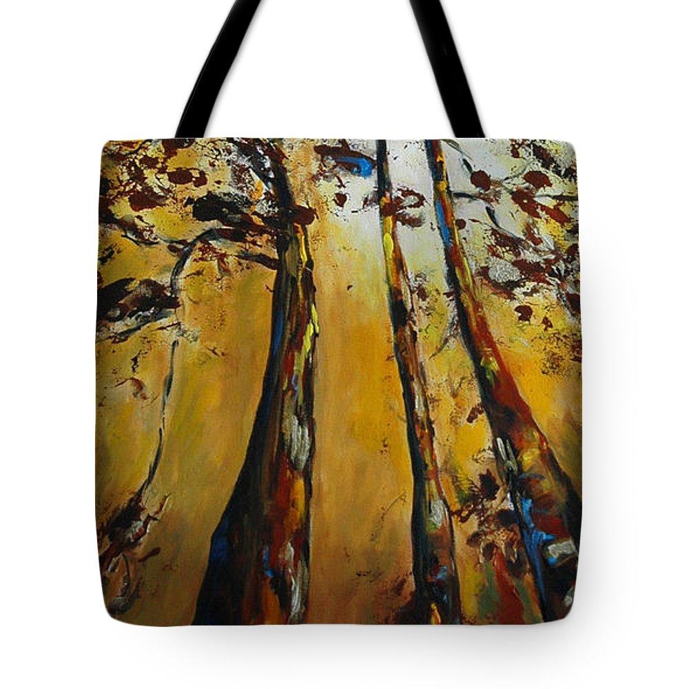 Arbres-paysage-nature Tote Bag featuring the painting Un Peu Plus Haut by Dyane Dastous