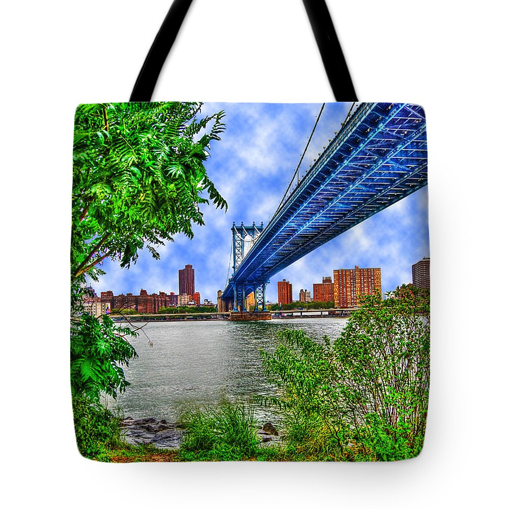 Manhattan Bridge Tote Bag featuring the photograph Under The Bridge by Randy Aveille