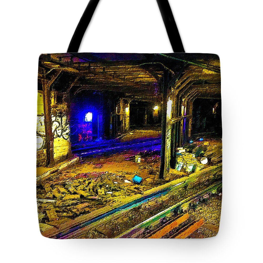 New York City Tote Bag featuring the painting Underground by Tony Rubino