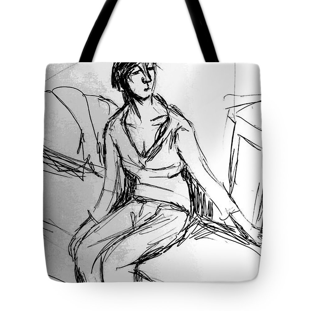 Girl Tote Bag featuring the drawing Untitled 112215 by Hae Kim