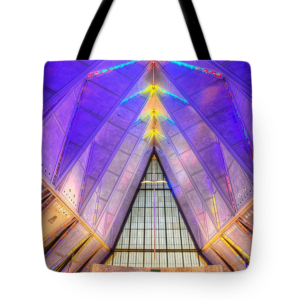 Us Air Force Tote Bag featuring the photograph Us Air Force Academy Chapel by Jerry Fornarotto