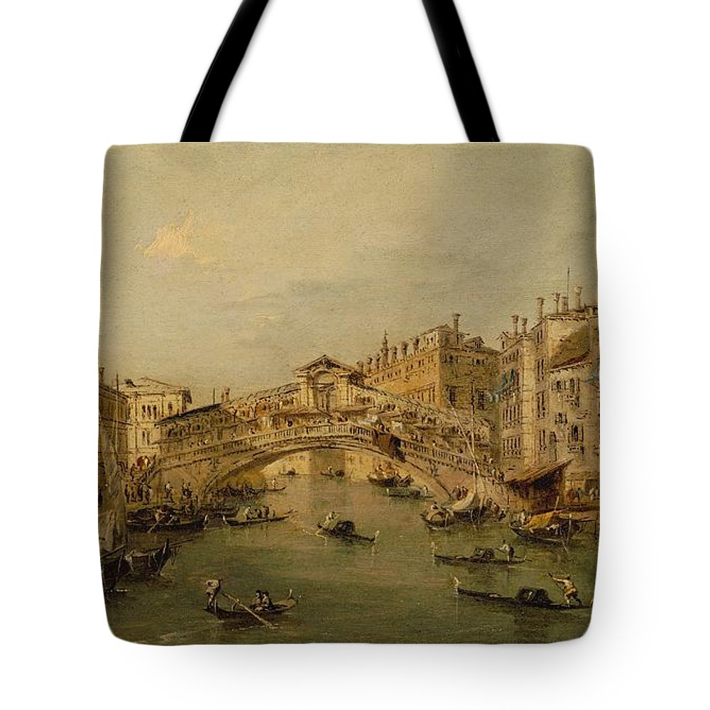 Workshop Of Francesco Guardi Venice The Rialto Tote Bag featuring the painting Venice The Rialto by Workshop of Francesco Guardi