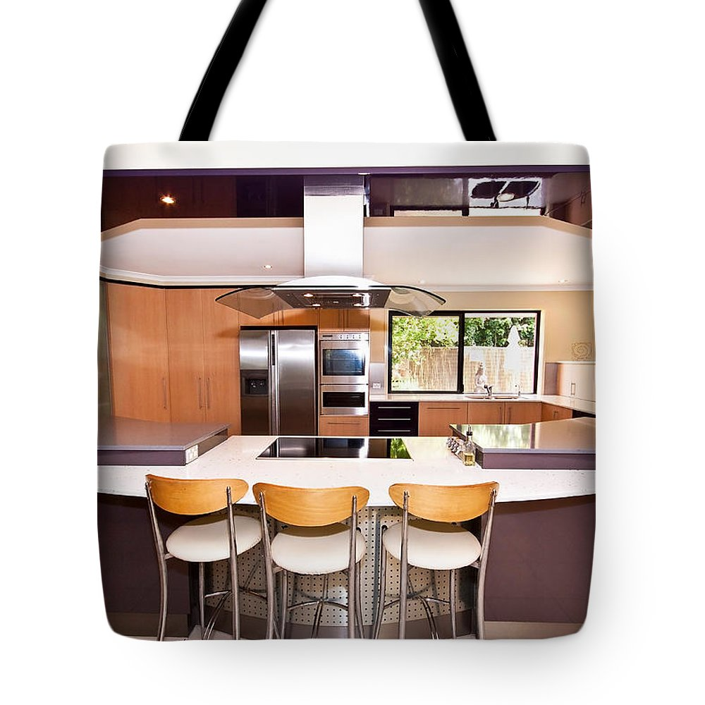 Stainless Tote Bag featuring the photograph Very Modern Kitchen by Darren Burton