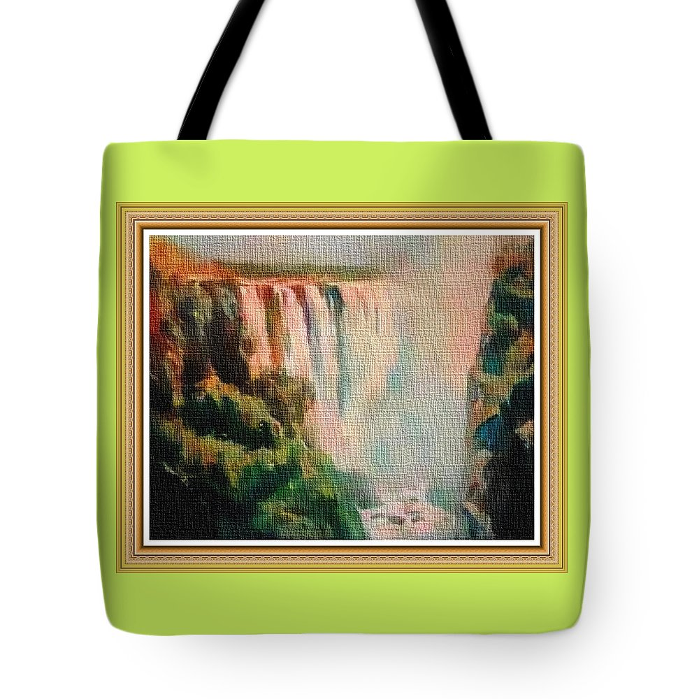 Rural Tote Bag featuring the painting Victoria Waterfalls L B With Alt. Decorative Ornate Printed Frame. by Gert J Rheeders