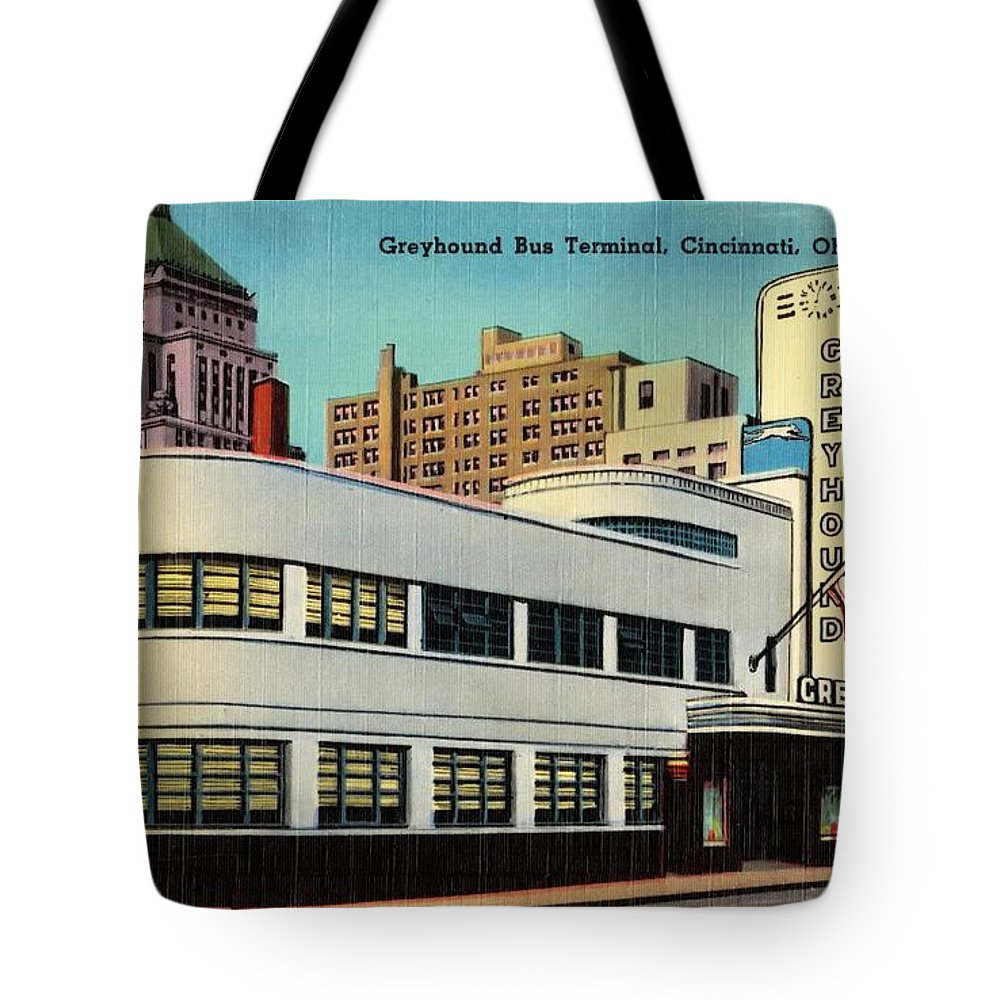 Postcard Tote Bag featuring the mixed media Vintage Cincinnati Postcard by Mountain Dreams