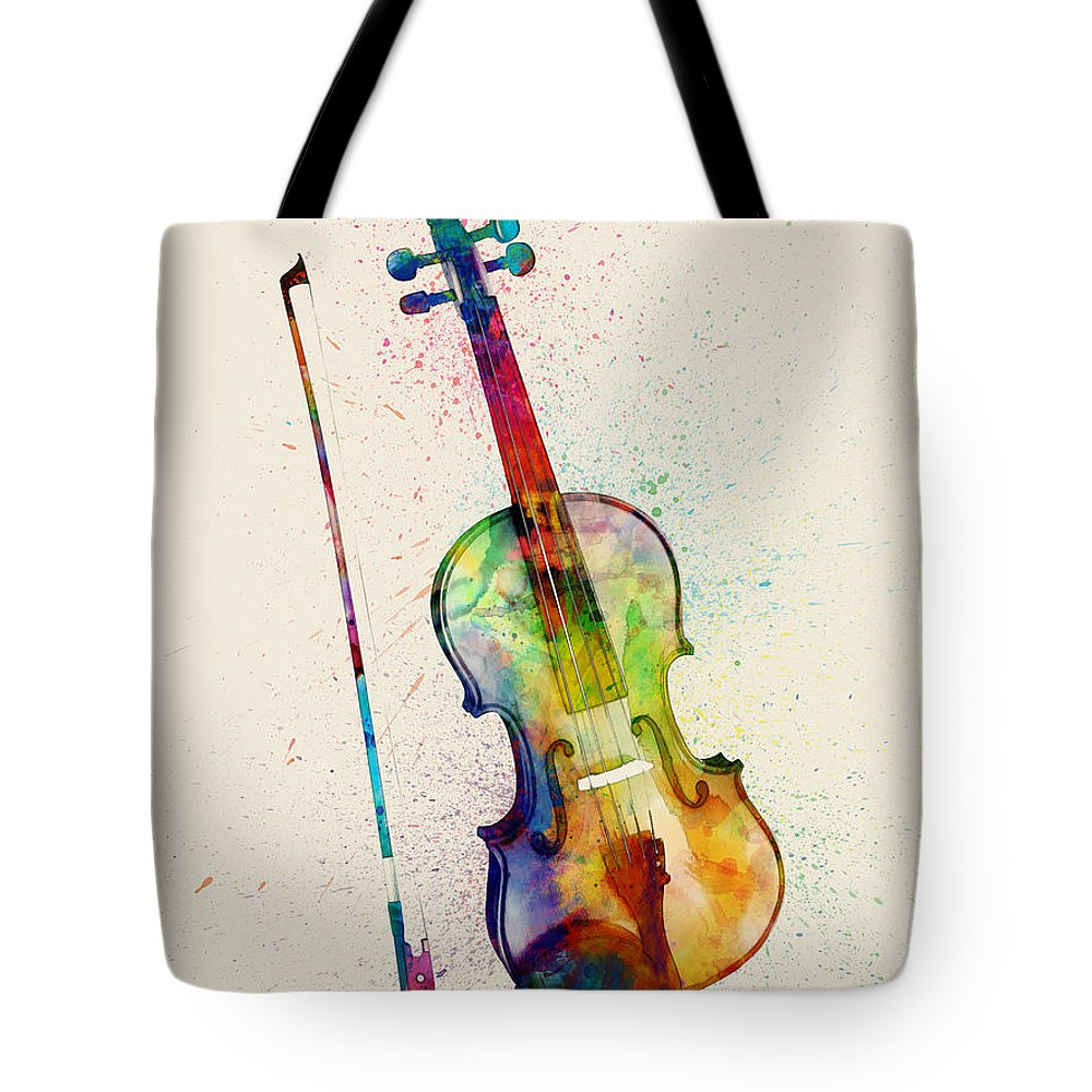 Musical Instrument Tote Bag featuring the digital art Violin Abstract Watercolor 1 by Michael Tompsett