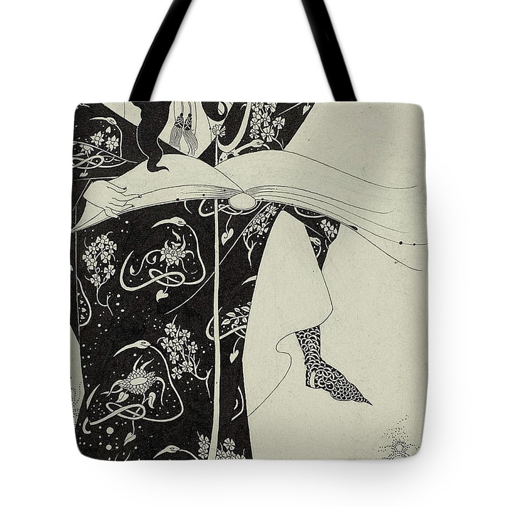 Wizard Tote Bag featuring the drawing Virgilius The Sorcerer by Aubrey Beardsley