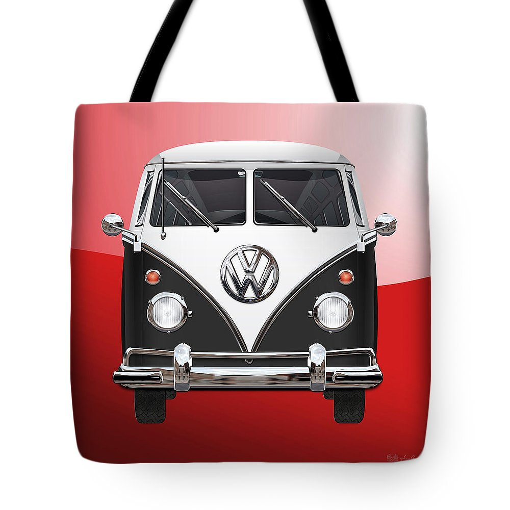'volkswagen Type 2' Collection By Serge Averbukh Tote Bag featuring the photograph Volkswagen Type 2 - Black and White Volkswagen T 1 Samba Bus on Red by Serge Averbukh