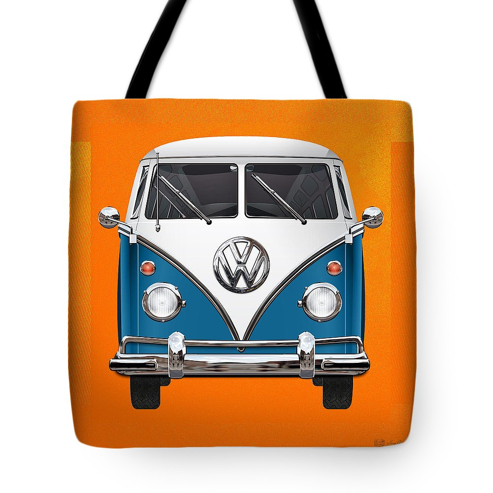 'volkswagen Type 2' Collection By Serge Averbukh Tote Bag featuring the photograph Volkswagen Type 2 - Blue And White Volkswagen T 1 Samba Bus Over Orange Canvas by Serge Averbukh