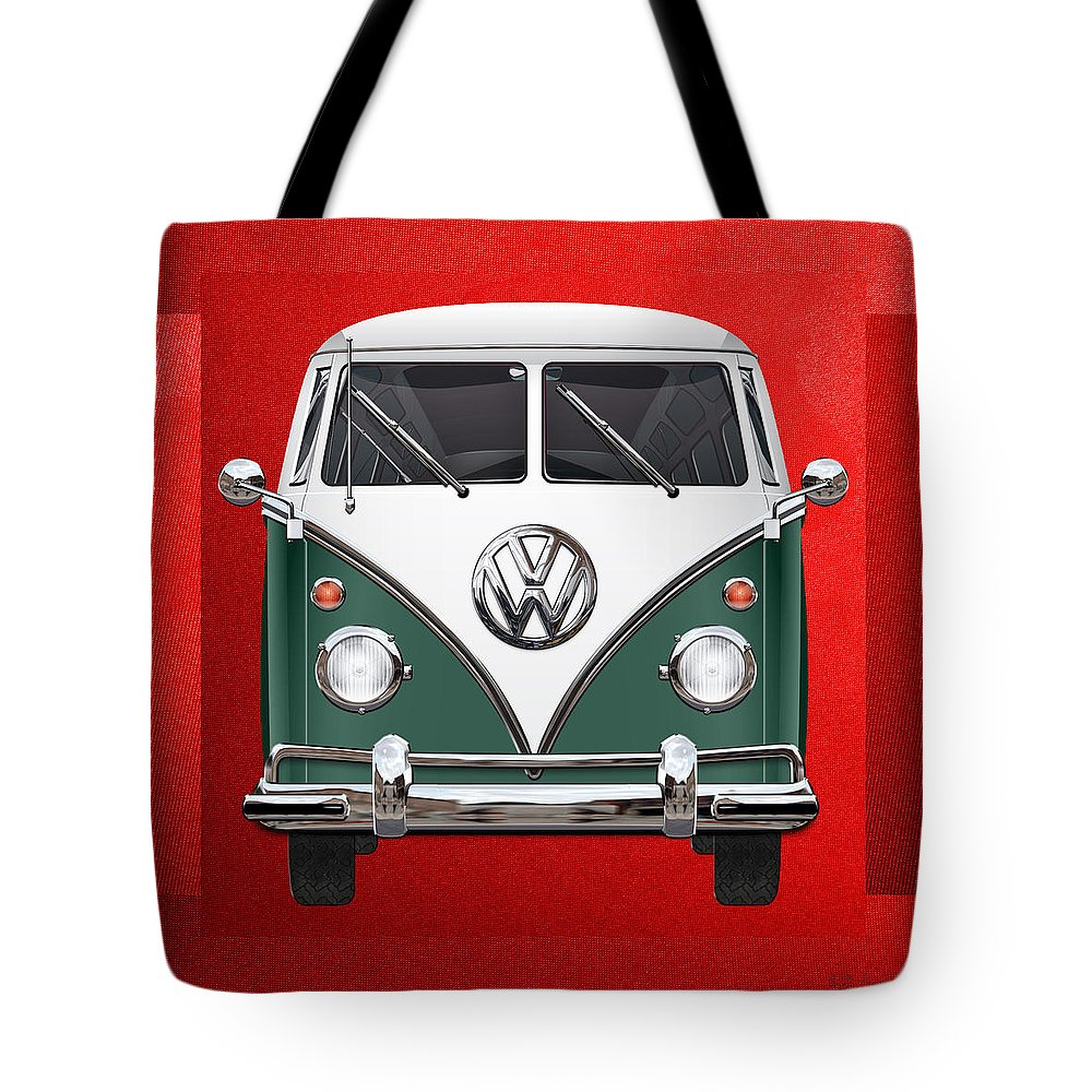 'volkswagen Type 2' Collection By Serge Averbukh Tote Bag featuring the photograph Volkswagen Type 2 - Green and White Volkswagen T 1 Samba Bus over Red Canvas by Serge Averbukh