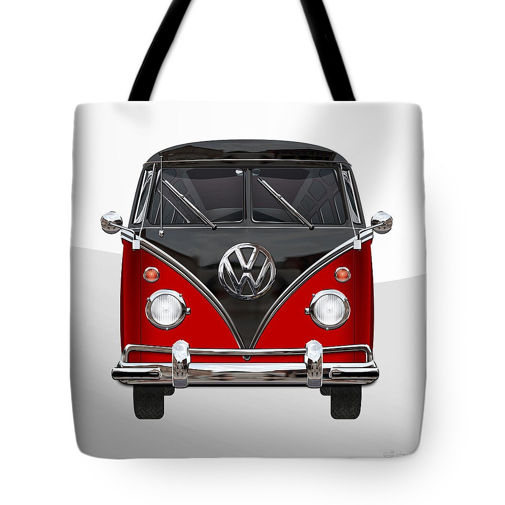 'volkswagen Type 2' Collection By Serge Averbukh Tote Bag featuring the photograph Volkswagen Type 2 - Red And Black Volkswagen T 1 Samba Bus On White by Serge Averbukh
