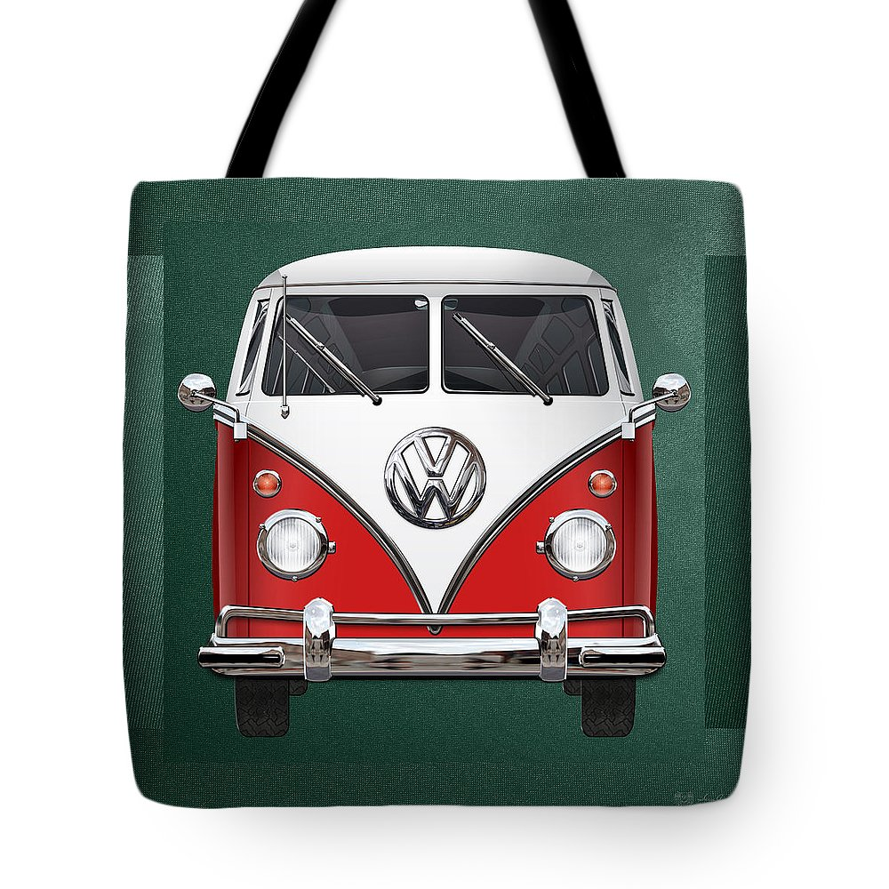 'volkswagen Type 2' Collection By Serge Averbukh Tote Bag featuring the photograph Volkswagen Type 2 - Red And White Volkswagen T 1 Samba Bus Over Green Canvas by Serge Averbukh