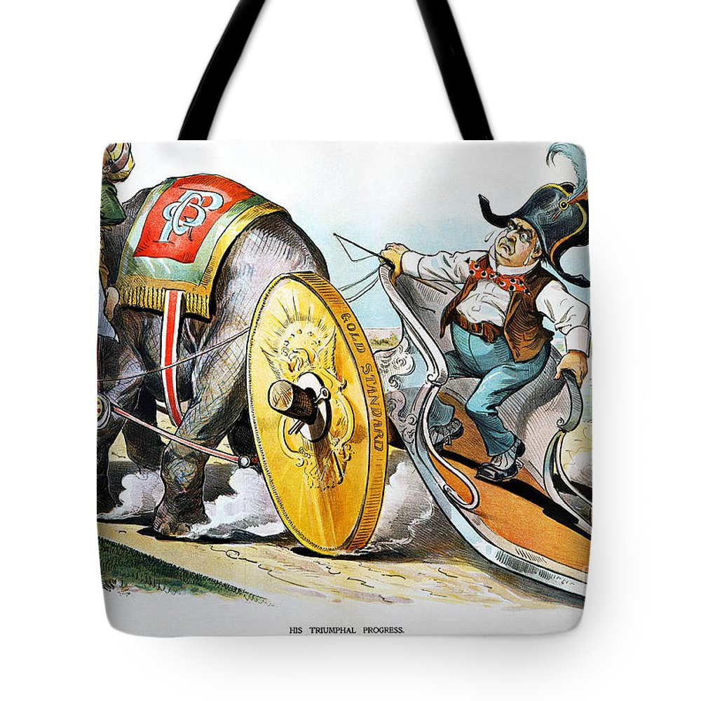 1896 Tote Bag featuring the photograph W. Mckinley Cartoon, 1896 by Granger