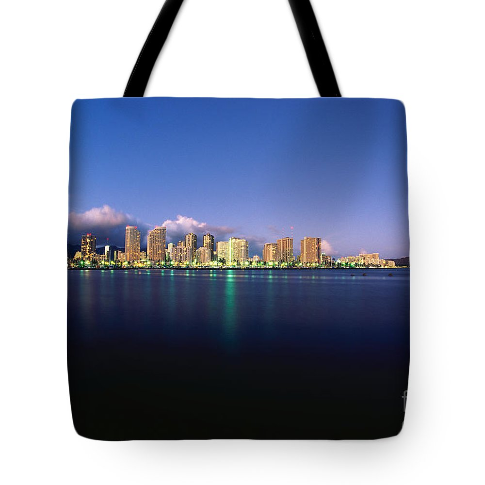 Across Tote Bag featuring the photograph Waikiki Skyline by Carl Shaneff - Printscapes