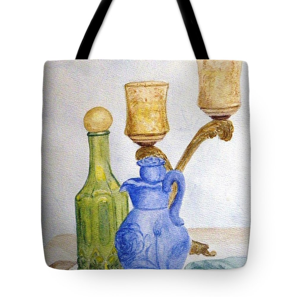 Still Life Painting Tote Bag featuring the painting Waiting For The Bath by Peggy King