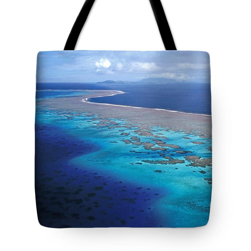 Aerial Tote Bag featuring the photograph Wakaya Island Aerial by Larry Dale Gordon - Printscapes