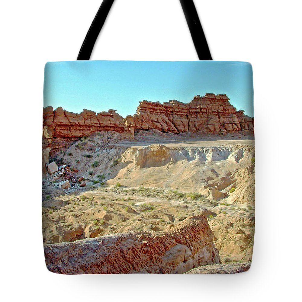 Wall Of Goblins Along Carmel Canyon Trail In Goblin Valley State Park Tote Bag featuring the photograph Wall Of Goblins On Carmel Canyon Trail In Goblin Valley State Park, Utah by Ruth Hager