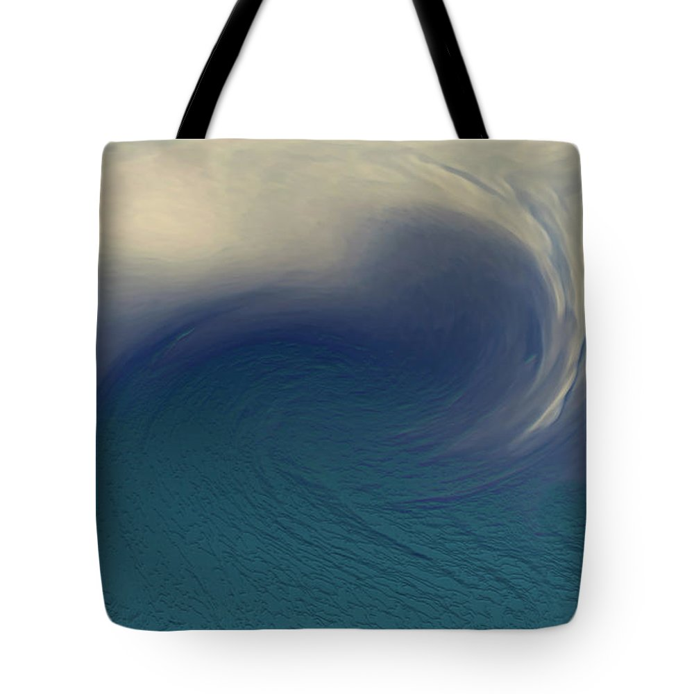 Abstract Wave Blue White Tote Bag featuring the digital art Water And Clouds by Linda Sannuti