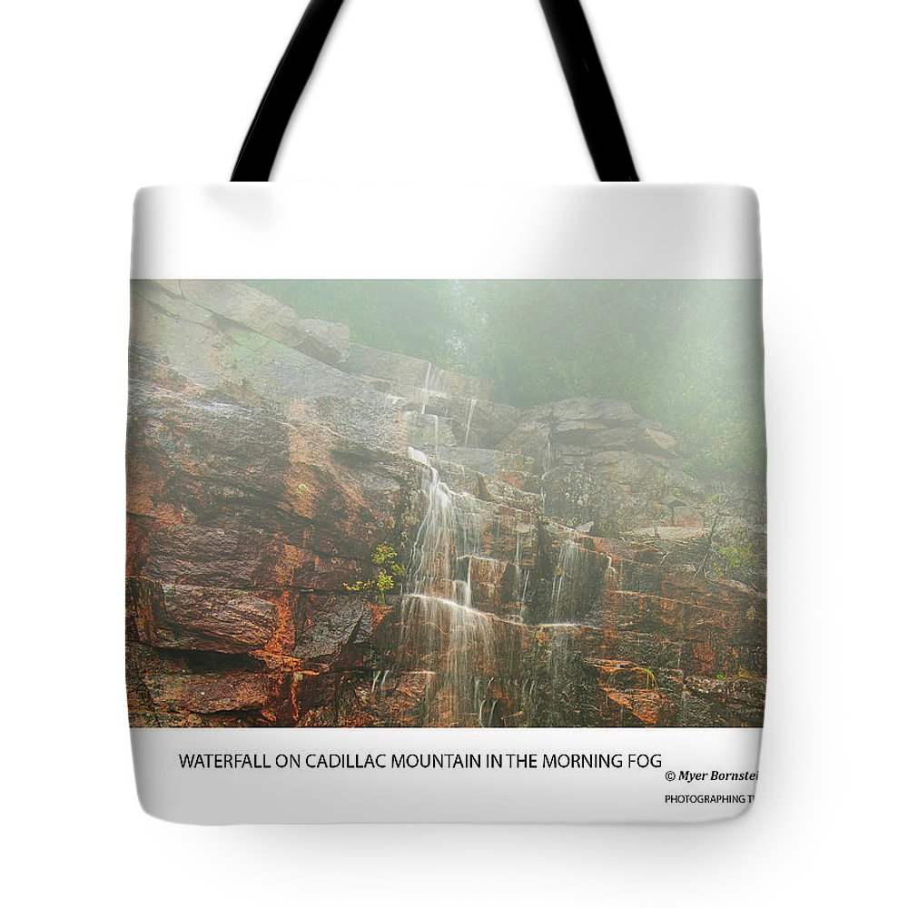 04-landscape Tote Bag featuring the photograph Water Fall On Cadillac Mountain by Myer Bornstein