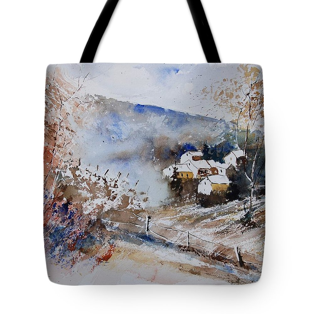 Winter Tote Bag featuring the painting Watercolor 902091 by Pol Ledent