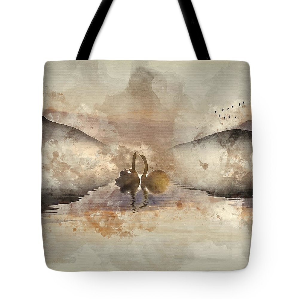 Landscape Tote Bag featuring the photograph Watercolor Painting Of Beautiful Romantic Image Of Swans On Mist by Matthew Gibson