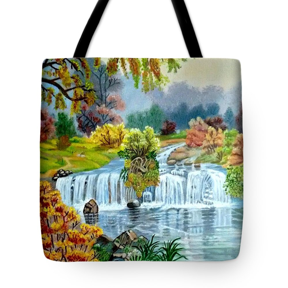 Landscape Tote Bag featuring the painting Waterfall After Monsoon by Rakesh Thapar