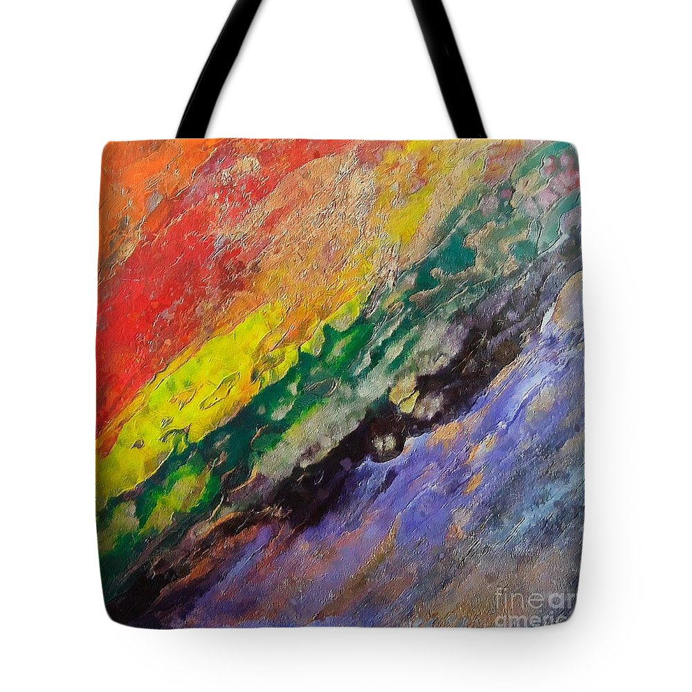 Waterfall Tote Bag featuring the painting Waterfall by Dragica Micki Fortuna